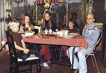 Kerr family at dining table
