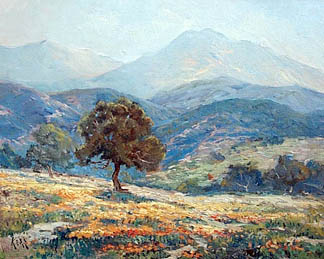 [painting of oak tree on hillside with poppies]