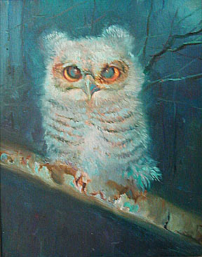 painting of baby owl]