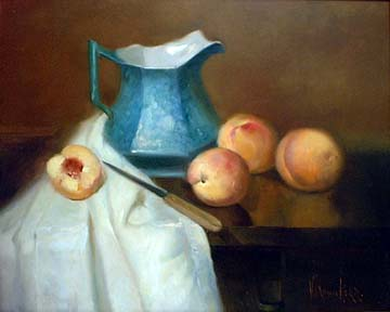 Blue pitches with four peaches and paring knife, draped with white cloth