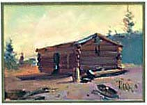 log cabin painting