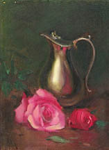 Still Life with Pink roses and silver pitcher